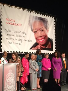 Maya Angelou Stamp Unveiling. By Kkhudson (Own work) [CC BY-SA 4.0 (http://creativecommons.org/licenses/by-sa/4.0)], via Wikimedia Commons