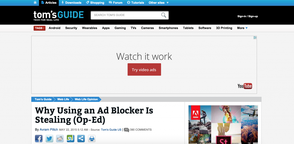 Blog post with ads
