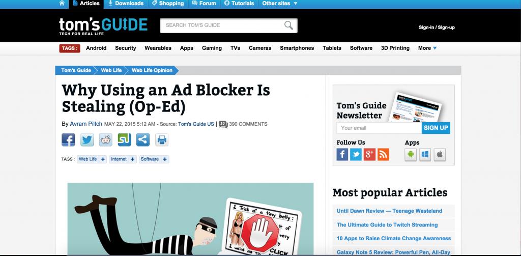 Blog post with AdBlock