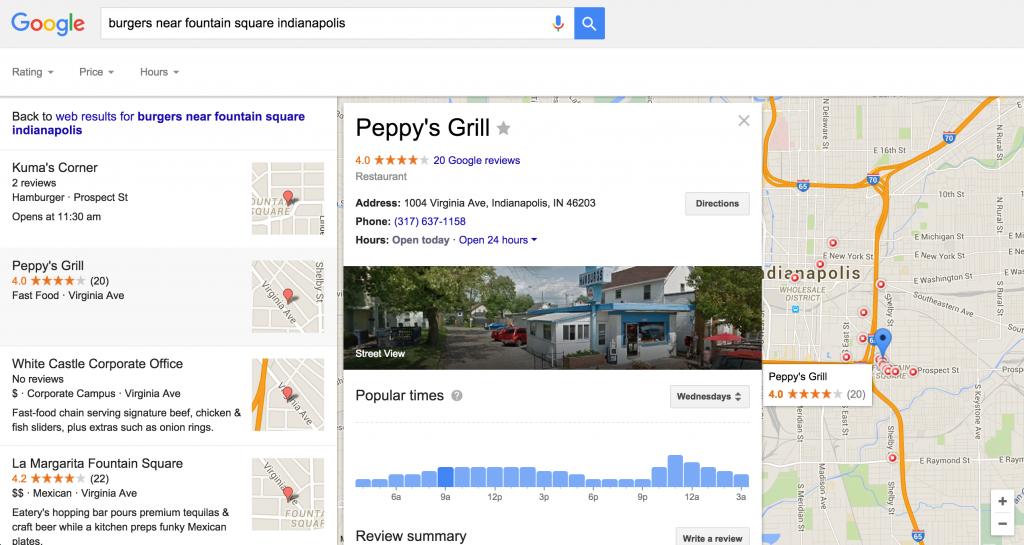 Fountain Square burgers search results