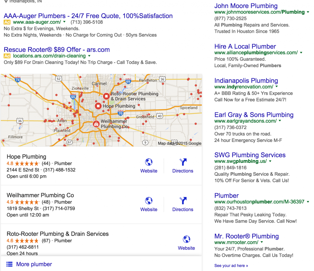Indy plumber search results