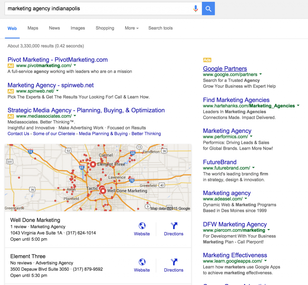 Marketing agency Indianapolis search results