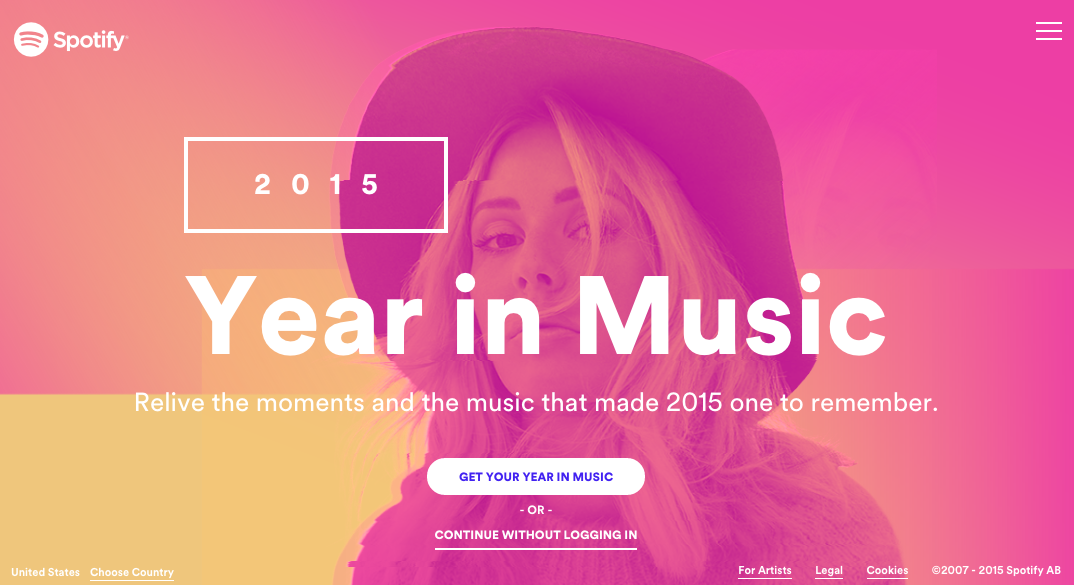 Best Websites of 2015 - Spotify Year in Music