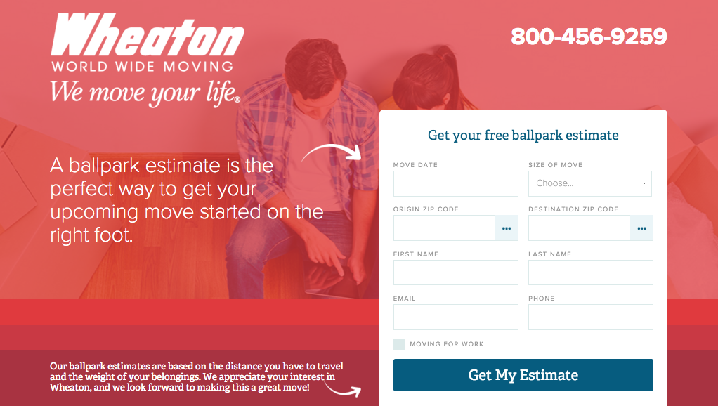 Landing Page Example - Wheaton World Wide Moving