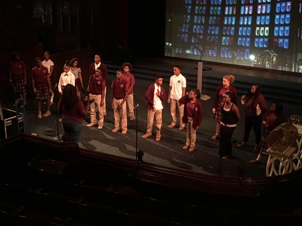 "The Tindley Forte and Expression choirs rehearse ""Man in the Mirror."""