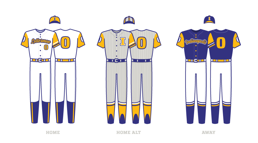 Indianapolis Lettermen Uniform Jerseys Home and Away