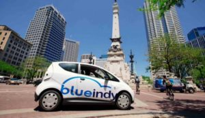 Blue Indy electric car