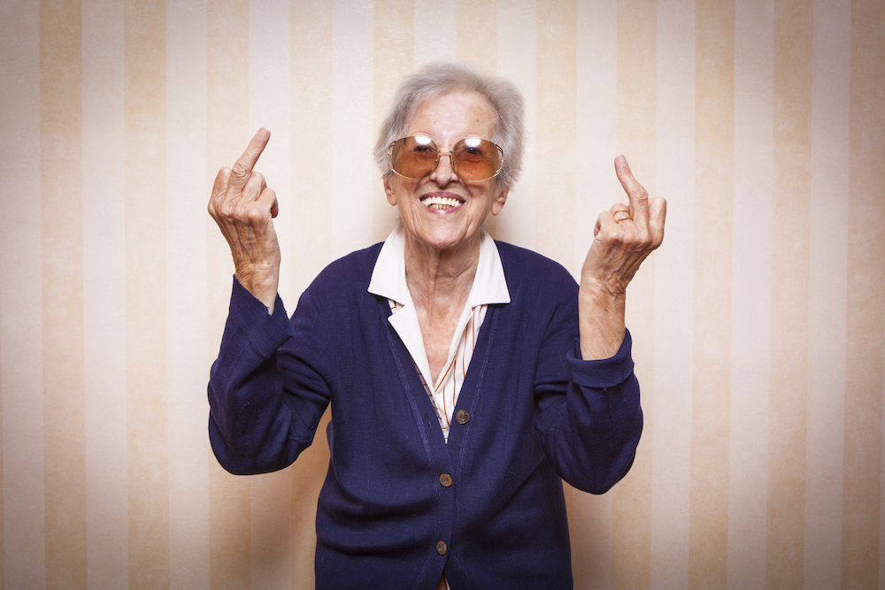 old lady, cool