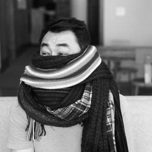 A picture of ACD Joe Black with his scarf collection