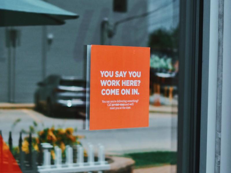 COVID front door sign