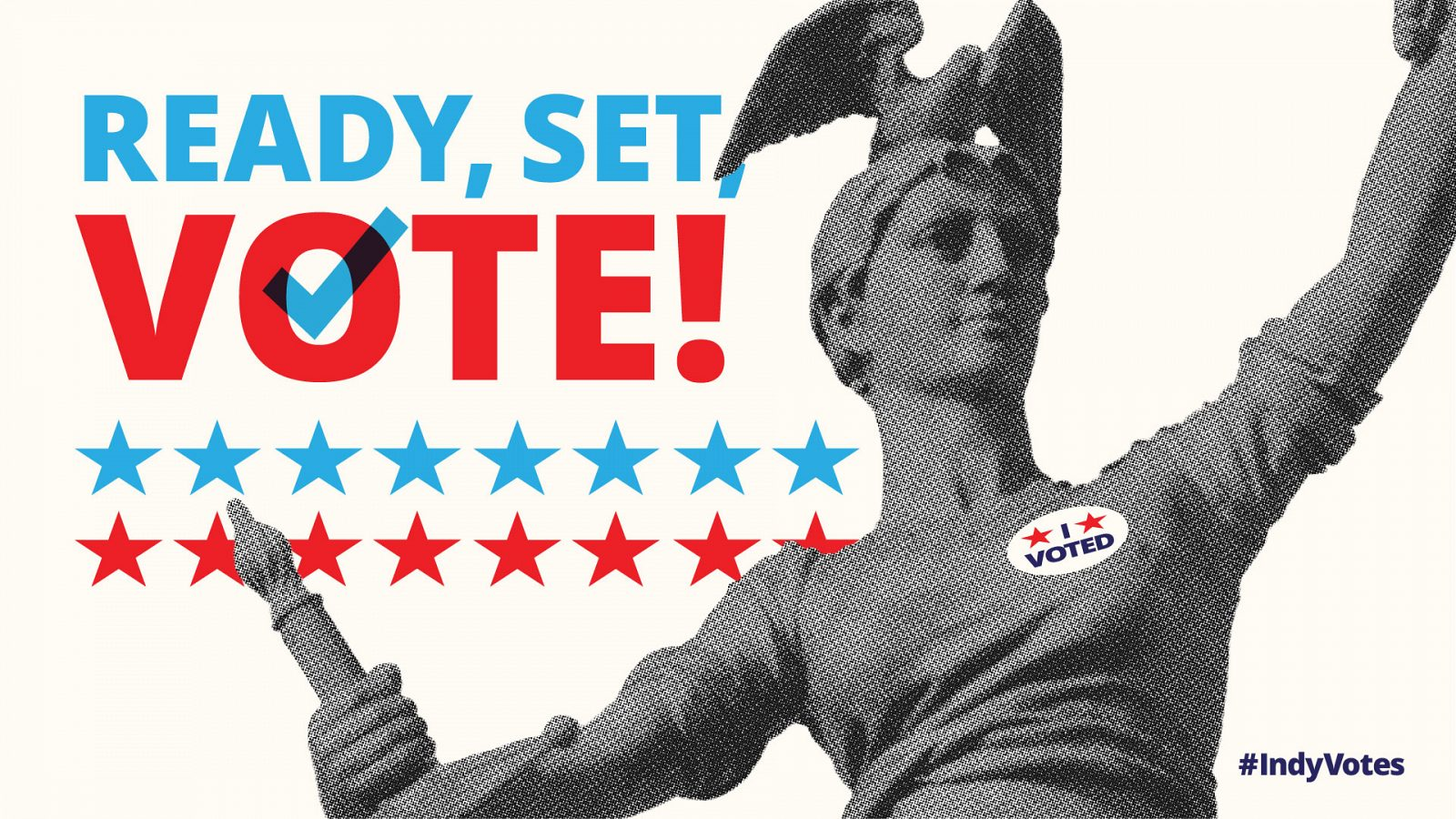 """Lady Victory with """"Ready, set, vote!"""" text, sized for twitter"""
