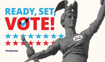 """Lady Victory with """"I Voted"""" sticker"""