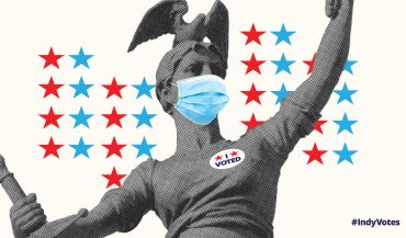 Masked Lady Victory with I Voted sticker