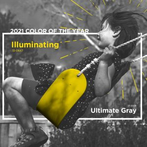 """Black and white photo of girl on """"Illuminating""""-colored swing"""