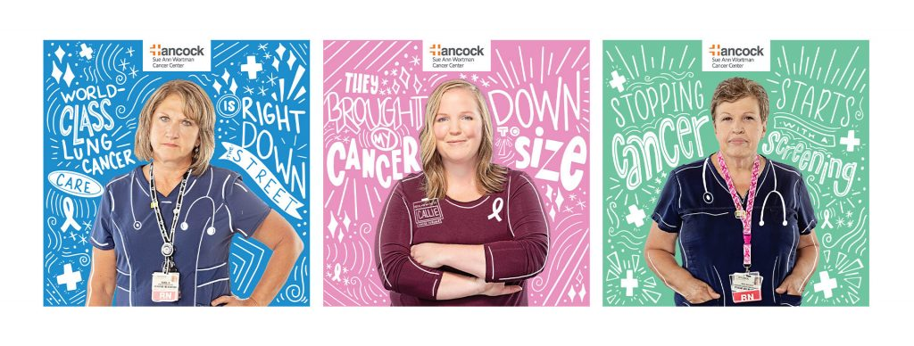Hancock Cancer campaign illustration examples