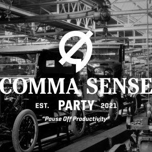 Comma Sense Party banner