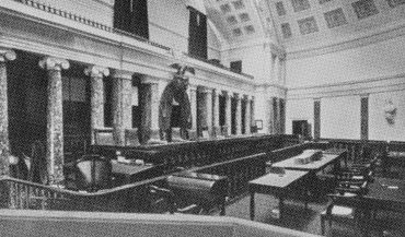 Vintage photo of courtroom